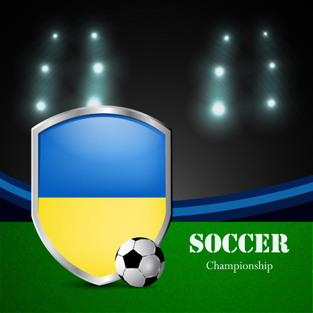 Illustration of Ukraine flag participating in soccer tournament