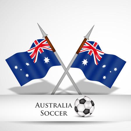 Illustration of Australia flag participating in soccer tournament Çizim