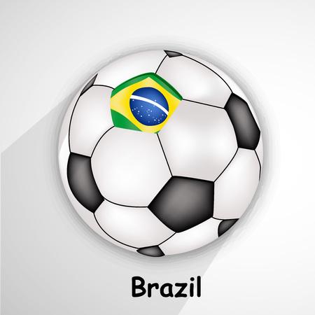 Illustration of Brzail flag on soccer background