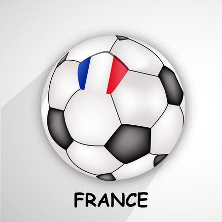 Illustration of France flag on soccer background Çizim