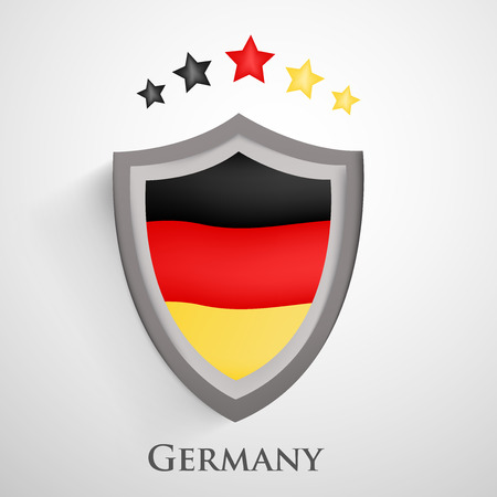 Illustration of Germany flag with shield for soccer background