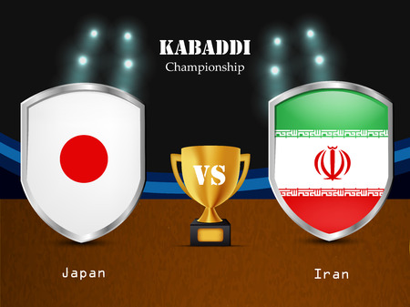 Illustration of different countries flag participating in kabaddi tournament Illustration