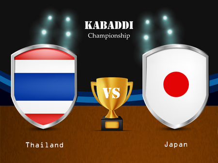 Illustration of different countries flag participating in kabaddi tournament Vectores