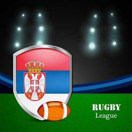 Illustration of Serbia Flag participating in rugby tournament Illustration