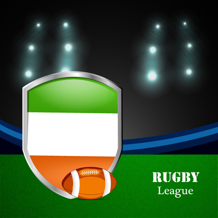 Illustration of Ireland Flag participating in rugby tournament