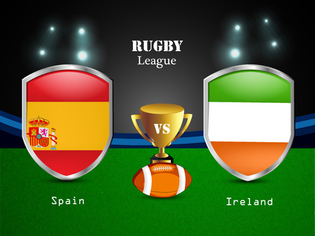 Illustration of different countries flag participating in rugby tournament