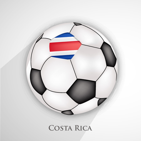 Illustration of Costa Rica flag on football