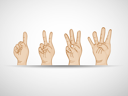 Illustration of set of hands counting numbers