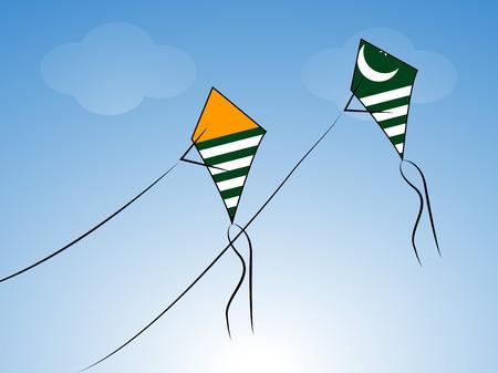 illustration of kites with Azad Jammu & Kashmir Flag