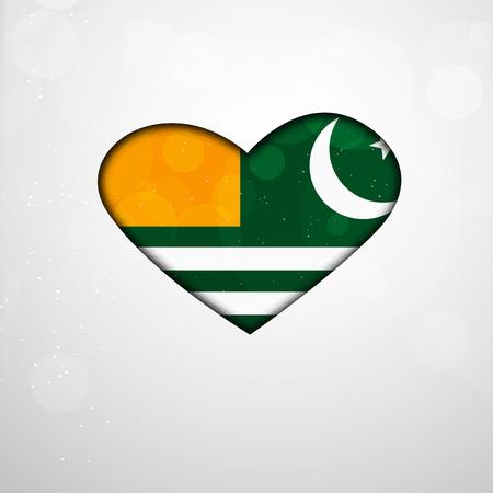 illustration of heart with Azad Jammu & Kashmir Flag