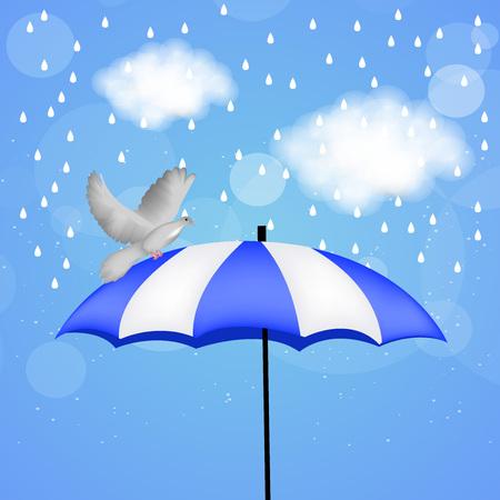 rainbow umbrella: Monsoon season background Illustration