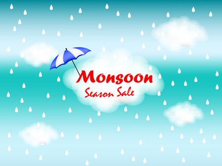 Monsoon season background Çizim