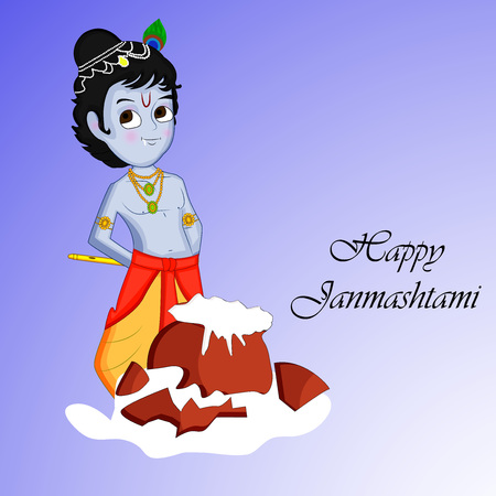Illustration of elements for the hindu festival Janmashtami Illustration