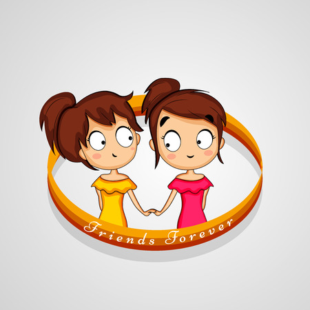 An illustration of elements of friendship day background. Illustration