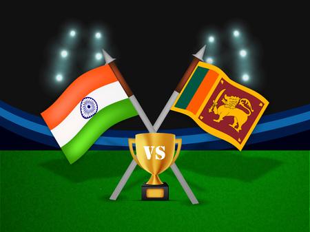 cricketer: Illustration of India and Sri Lanka flag for tournament