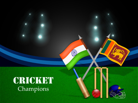 Illustration of India and Sri Lanka flag for tournament