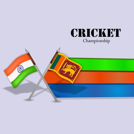 Illustration of India and Sri Lanka flag for tournament