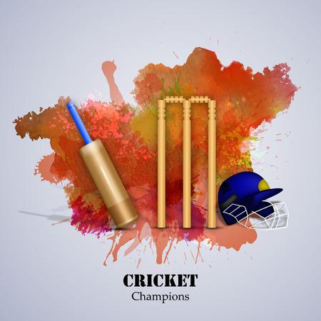 Illustration of cricket elements for tournament Illustration