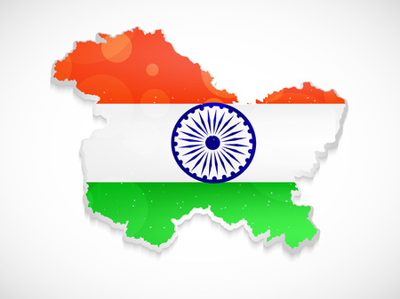 illustration of Jammu & Kashmir map with Indian flag
