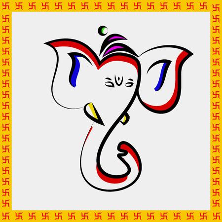 Ilustración del hindú Festival Ganesh Chaturthi Antecedentes Vectores
