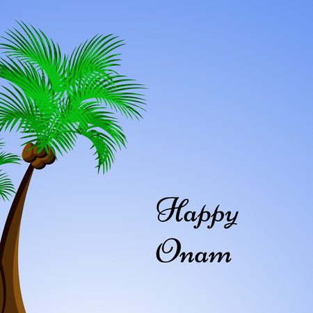 bateau de course: illustration of hindu festival Onam background. boat racing and kathakali dance held during onam festival.