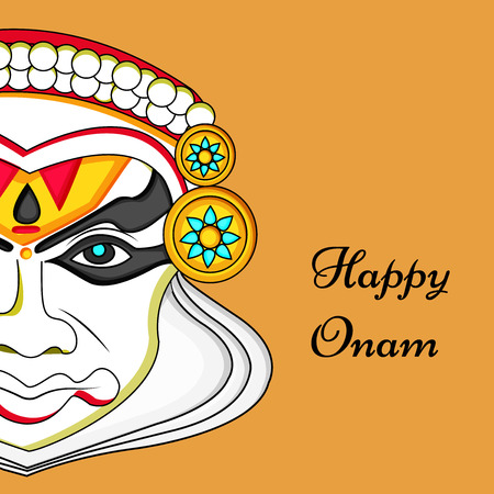 illustration of hindu festival Onam background. boat racing and kathakali dance held during onam festival.