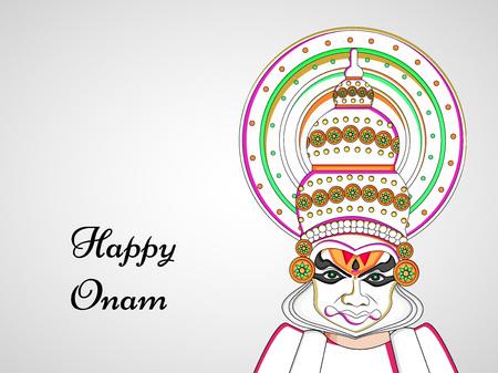illustration of hindu festival Onam background. boat racing and kathakali dance held during onam festival.