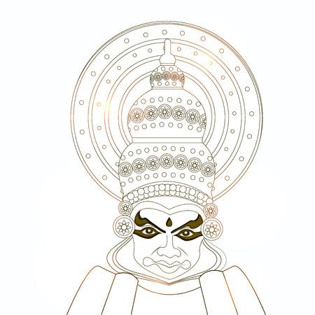 illustration of hindu festival Onam background. boat racing and kathakali dance held during onam festival. Stock Vector - 82573532