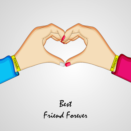 Friendship day two hands connecting to form heart in gray background Illustration
