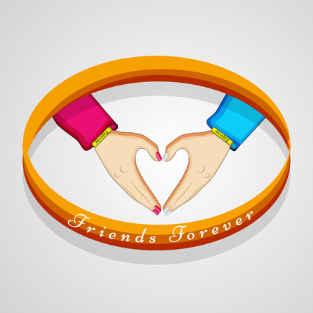 Friendship day concept two hands connected to form a heart in gray background