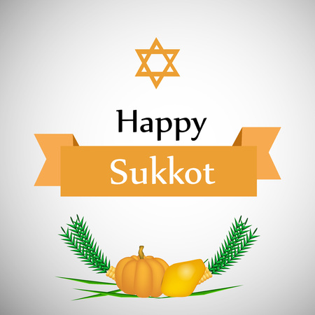 illustration of elements of Festival Sukkot Background. Sukkot is a Jewish festival of giving thanks for the fall harvest