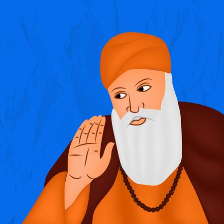 illustration of elements of Sikh festival Guru Nanak Jayanti Background
