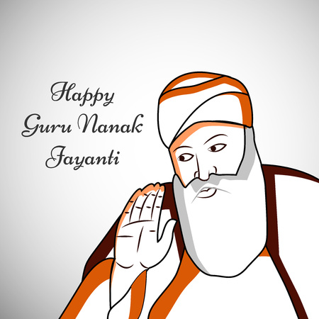 illustration of elements of Sikh festival Guru Nanak Jayanti Background Stock Vector - 84651116