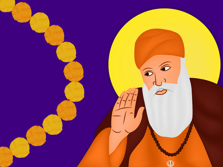 illustration of elements of Sikh festival Guru Nanak Jayanti Background