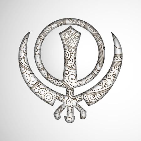 illustration of elements of Sikh festival Guru Nanak Jayanti Background Stock Vector - 84651129