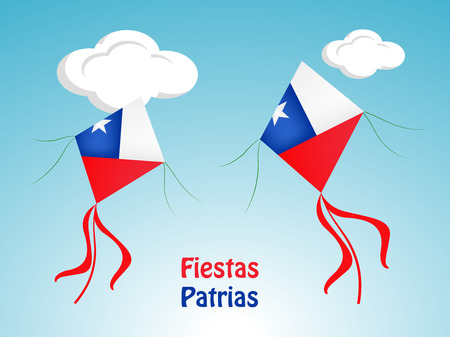 Illustration of elements of Chile's National Independence Day Background.  イラスト・ベクター素材