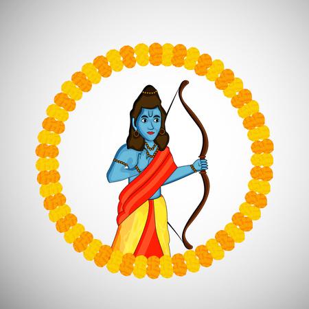 Illustration of elements of Hindu festival Dussehra background.