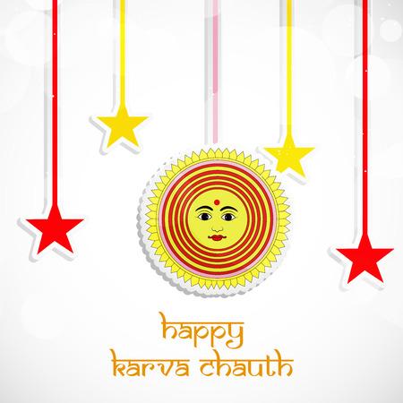 Illustration of elements of Hindu Festival Karwa Chauth background Illustration