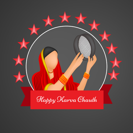 festive occasions: Illustration of elements of Hindu Festival Karwa Chauth background moon and stars with lady Illustration