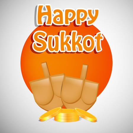 Illustration of elements of Jewish Holiday Sukkot. Illustration