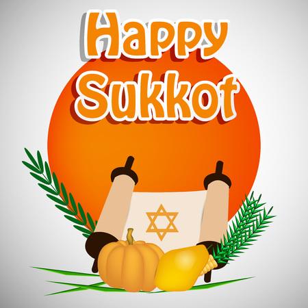 illustration of elements of Jewish Holiday Sukkot background Illustration