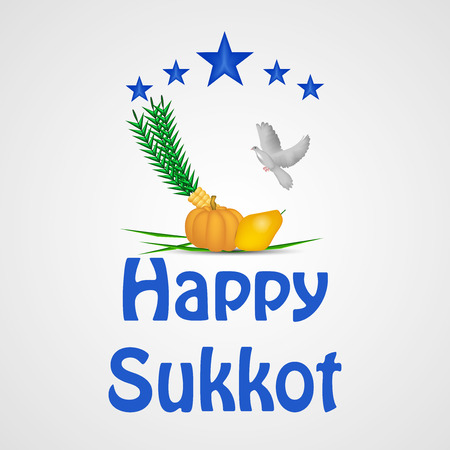 illustration of elements of jewish sukkot background