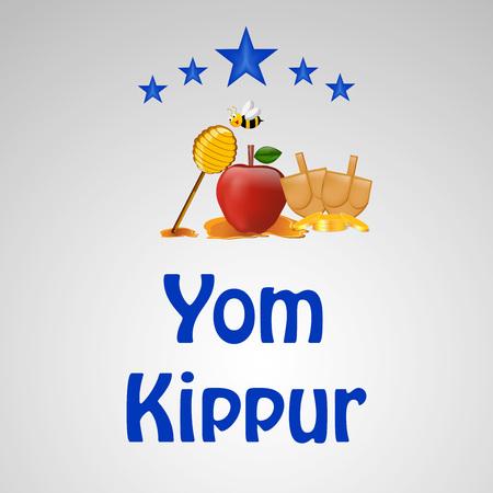 illustration of elements of jewish yom kippur background Illustration