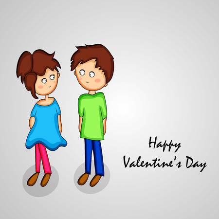 Illustration of cute girl and boy holding each other Illustration