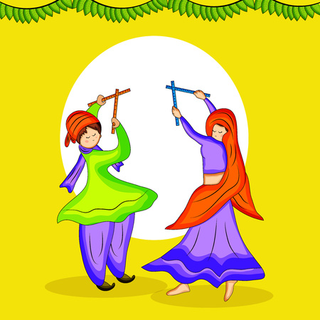 Illustraion of people dancing hindu folk dance garba with decoration on the occasion of hindu festival navratri