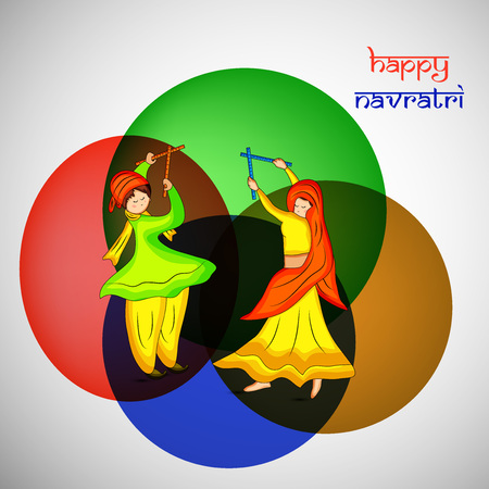 Illustraion of people dancing hindu folk dance garba with happy navratri text on the occasion of hindu festival navratri