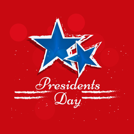 Illustration of stars on red background with presidents day text on the occasion of USA Presidents Day
