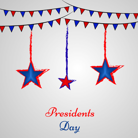 Illustration of hanging stars and decoration with presidents day text on the occasion of USA Presidents Day Ilustração