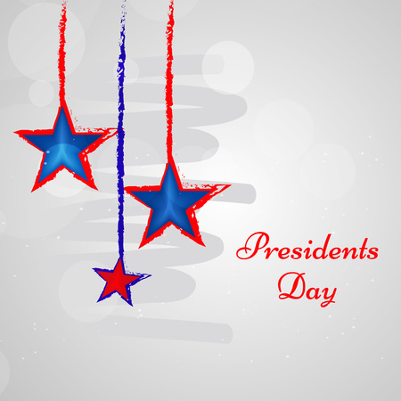 Illustration of hanging stars with presidents day text on the occasion of USA Presidents Day
