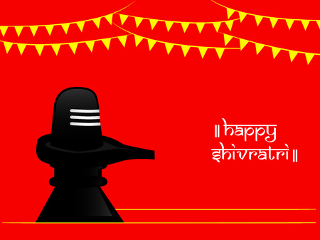 illustration of hindu symbol shivling with decoration and happy shivratri text on the occasion of hindu festival shivratri